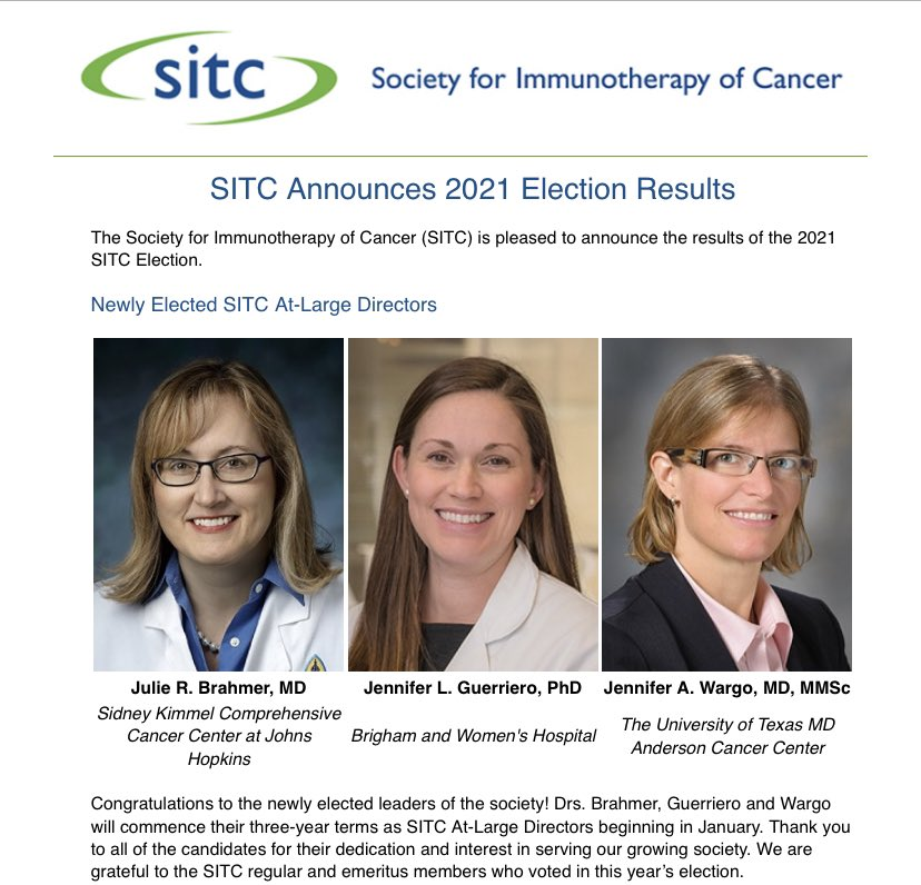 Congratulations To Dr. Guerriero For Being Elected As An At-Large Director For SITC